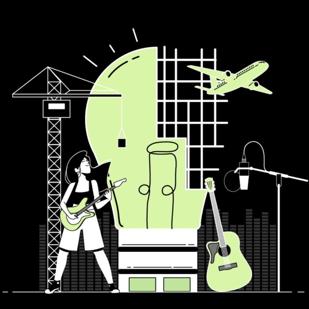 Die Grafik in hellgrün, weiß und schwarz, zeigt (von links nach rechts) einen Kran, eine Person, die Gitarre spielt, eine überdimensionale Glühbirne, die oben rechts aus einem Gitter besteht, eine Gitarre, ein Flugzeug und ein Mikrofon an einem Ständer.