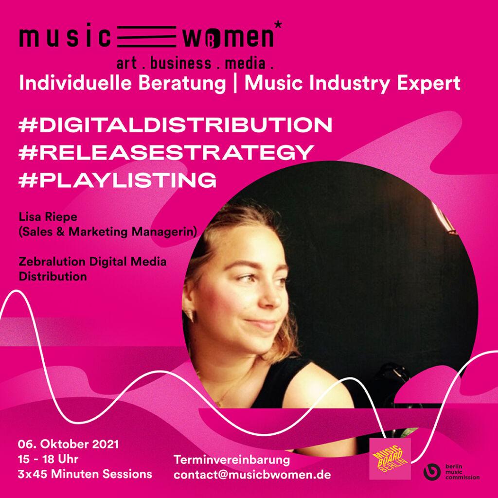 Profilbild von Lisa Riepe vor einem pinken Hintergrund mit den detaillierten Informationen zu der Veranstaltung.